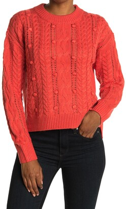 Heartloom Cable Knit Pompom Sweater