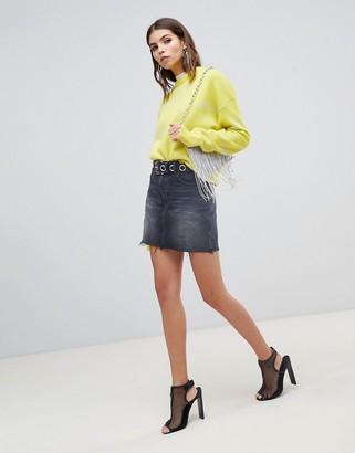 Miss Sixty denim skirt with raw hem and printed logo detail-Black