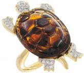 Kenneth Jay Lane FINE JEWELRY KJL by Faux Tortoiseshell & Crystal Turtle Ring