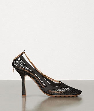 Bottega Veneta Stretch Pumps In Mesh And Berry Calf