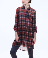Blvd Red & Black Sheer Plaid Button-Up Tunic