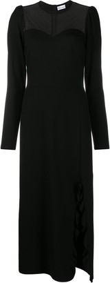 RED Valentino Sheer-Panel Mid-Length Dress
