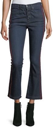 Veronica Beard Jeans Carolyn Baby Boot Cropped Jeans w/ Tux Stripes