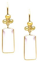Tresor Collection - 18K Yellow Gold Earring With Rose Quartz and Champagne Diamond Default Title