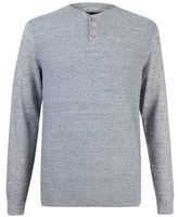 Burton Burton Grey Textured Grandad Collar Jumper