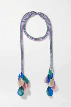 Isabel Marant Eacharpe Shell, Feather And Silver-tone Necklace - Green