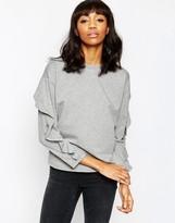Asos Sweatshirt With Frill Sleeve