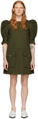 Alexander McQueen Khaki Puff Sleeves Cargo Dress