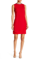 Adrianna Papell Sleeveless Necklace Drape Front Sheath Dress
