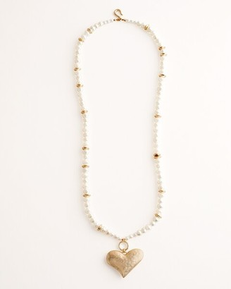 Chico's Convertible Faux-Pearl Heart Pendant Necklace