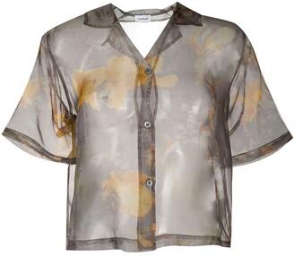 Soulland Sheer Floral Print Silk Shirt