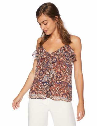Cupcakes And Cashmere Women's Jueleta Stary Paisley Printed cami with Front Ruffle