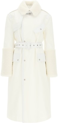 Mr & Mrs Italy Cotton Trench Coat With Leather And Shearling Inserts