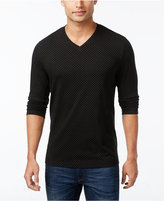Alfani Men's Diamond V-Neck Textured Long-Sleeve T-Shirt, Only at Macy's