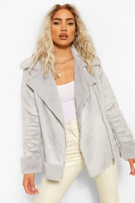 boohoo Suedette Faux Fur Lined Aviator