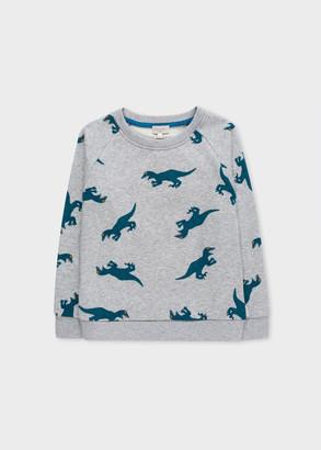 Paul Smith 8-10 Years Grey Marl 'Dino' Print Sweatshirt