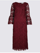 Per Una Lace Flute Sleeve Shift Midi Dress