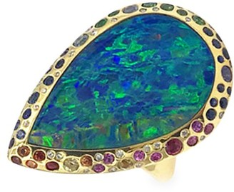 Ippolita Rock Candy 18K Yellow Gold, Boulder Opal, Diamond & Multicolor Sapphire Ring