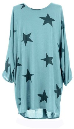 Luxsea Womens Batwing Stars Print Lagenlook Fine Knitted Baggy Tunic Top Gray