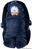 ByBoom® - Swaddling Wrap, Car Seat and Pram Blanket for Winter, Universal for infant and child car seats (e.g. Maxi-Cosi, Britax), for a pushchair/stroller, buggy or baby bed; THE ORIGINAL WITH THE BEAR, Color:Dark Blue/Blue by ByBoom
