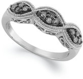 Macy's Sterling Silver Ring, Grey Diamond 3 Oval Band (1/5 ct. t.w.)