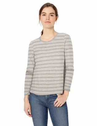 Daily Ritual Lightweight Lived-in Cotton Long-sleeve Swing T-shirt Light Grey Heather Stripe US S (EU S - M)