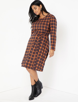 ELOQUII Plaid Fit and Flare Dress
