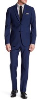 John Varvatos Blue Two Button Notch Lapel Wool Blend Suit