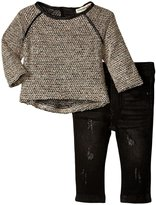 Appaman Kay Top Denim Knit Jegging Set (Baby) - Black - 12-18 Months