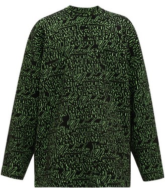 Balenciaga Love Jacquard Wool Blend Sweater - Mens - Black Green
