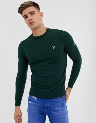 Lyle & Scott merino crew neck jumper in dark green