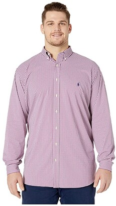 Polo Ralph Lauren Big & Tall Big Tall Long Sleeve Performance Woven Shirt (Raspberry/White) Men's Clothing