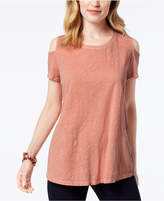 Style&Co. Style & Co Cotton Cold-Shoulder T-Shirt, Created for Macy's
