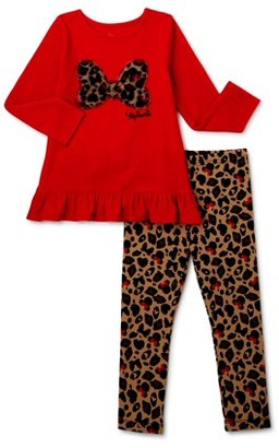Disney Minnie Mouse Baby Toddler Girl Ruffle Trim Top & Animal Print Leggings, 2pc outfit set