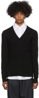 Dries Van Noten Black Slim V-Neck Sweater