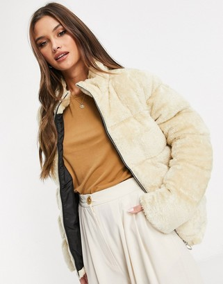 Qed London faux fur puffer jacket in stone