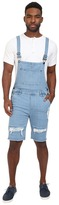 Publish Fonso - Distressed Stretch Denim Overall Shorts