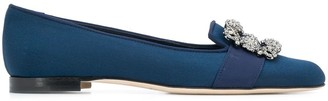 Manolo Blahnik Marria crystal buckle ballerina shoes