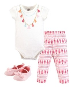 Little Treasure Baby Bodysuit, Pant and Shoes, Tassel Necklace