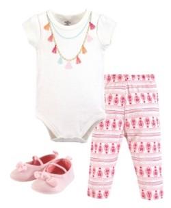Little Treasure Unisex Baby Bodysuit, Pant and Shoes, Tassel Necklace, 3-Piece Set, 6-9 Months (9M)