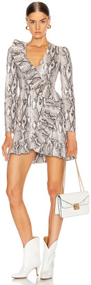 MSGM Ruffle Snake Print Dress in Ice | FWRD
