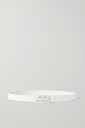 Balenciaga Bb Leather Belt - White