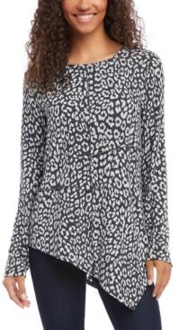Karen Kane Asymmetrical Leopard-Print Top