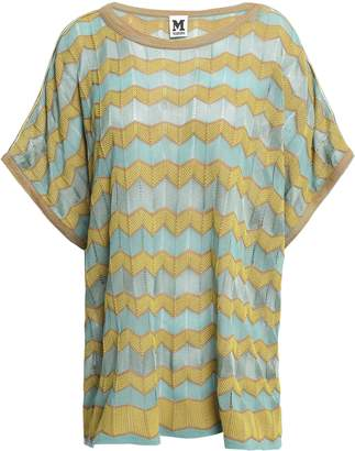 M Missoni Striped Crochet-knit Cotton-blend Top