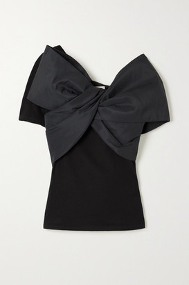 Alexander McQueen Bow-embellished Taffeta And Cotton-jersey Top - Black