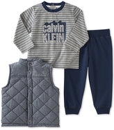 Calvin Klein 3-Pc. Quilted Vest, T-Shirt & Jogger Pants Set, Baby Boys (0-24 months)