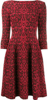 Alaia lace overlay flared dress