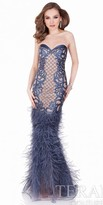 Terani Couture Fit and Flare Beaded Leather Feather Dress