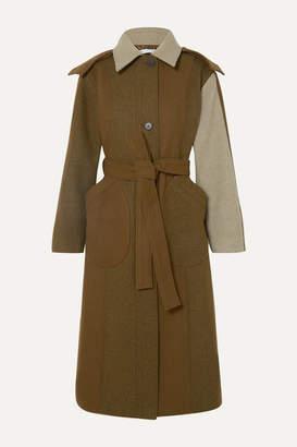 REJINA PYO Charlie Hooded Color-block Wool-blend Felt Coat - Army green