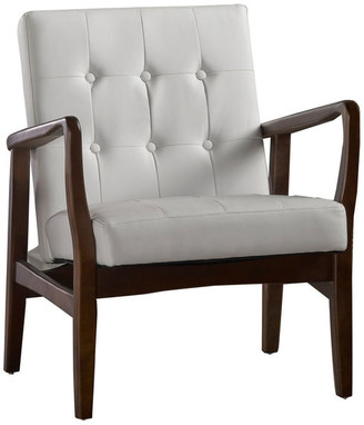 Gdfstudio Conrad Mid Century Modern Faux Leather Club Chair with Wood Frame